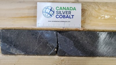 Silver and cobalt mineralization in hole CS-21-50 (2208 g/t Ag, 0.38 % Co) (CNW Group/Canada Silver Cobalt Works Inc.)
