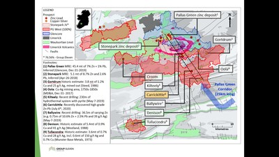 Exhibit 8. Location of Carrickittle Prospect at the Company's 100%-owned PG West Project, Ireland (CNW Group/Group Eleven Resources Corp.)