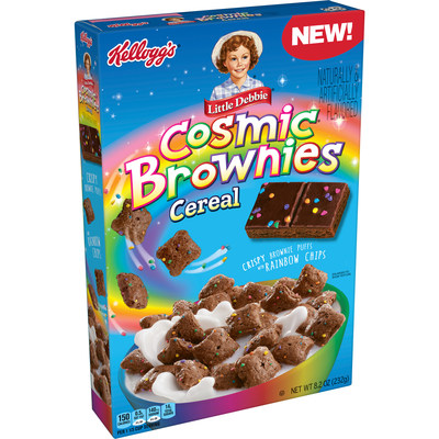 New Kellogg's® Little Debbie® Cosmic® Brownies Cereal features crispy brownies squares made with cosmic rainbow pieces, just like the iconic Little Debbie® Cosmic® Brownies.