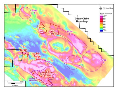Figure 1: Decar Nickel District with airborne magnetic survey results showing the location of the Baptiste Deposit, Van target and additional exploration areas (CNW Group/FPX Nickel Corp.)