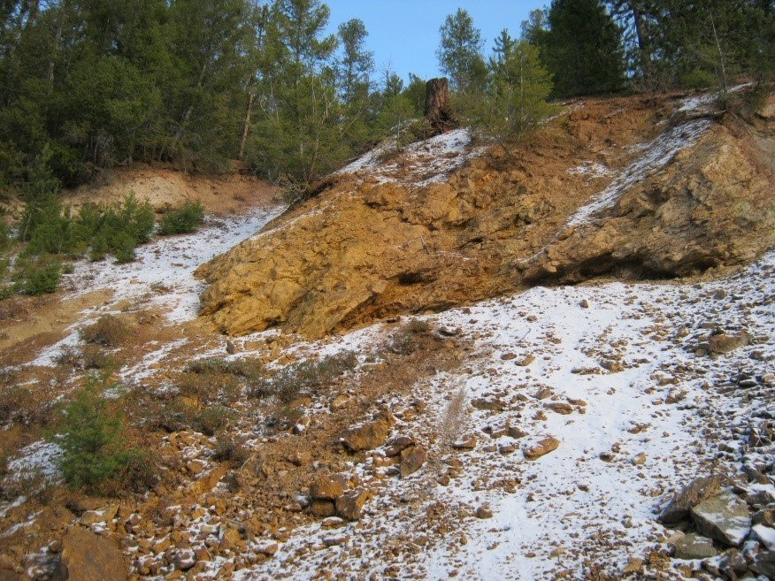 U.S. Gold Corp.'s Challis Project: Copper-cobalt showing, gossan and semi-massive sulfide.
