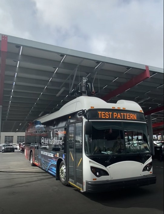 The patent-pending Pantograph In-Depot Equipment (PIDE) Canopy Mount allows fleets to reduce the cost of EV charging while leveraging renewable electricity.