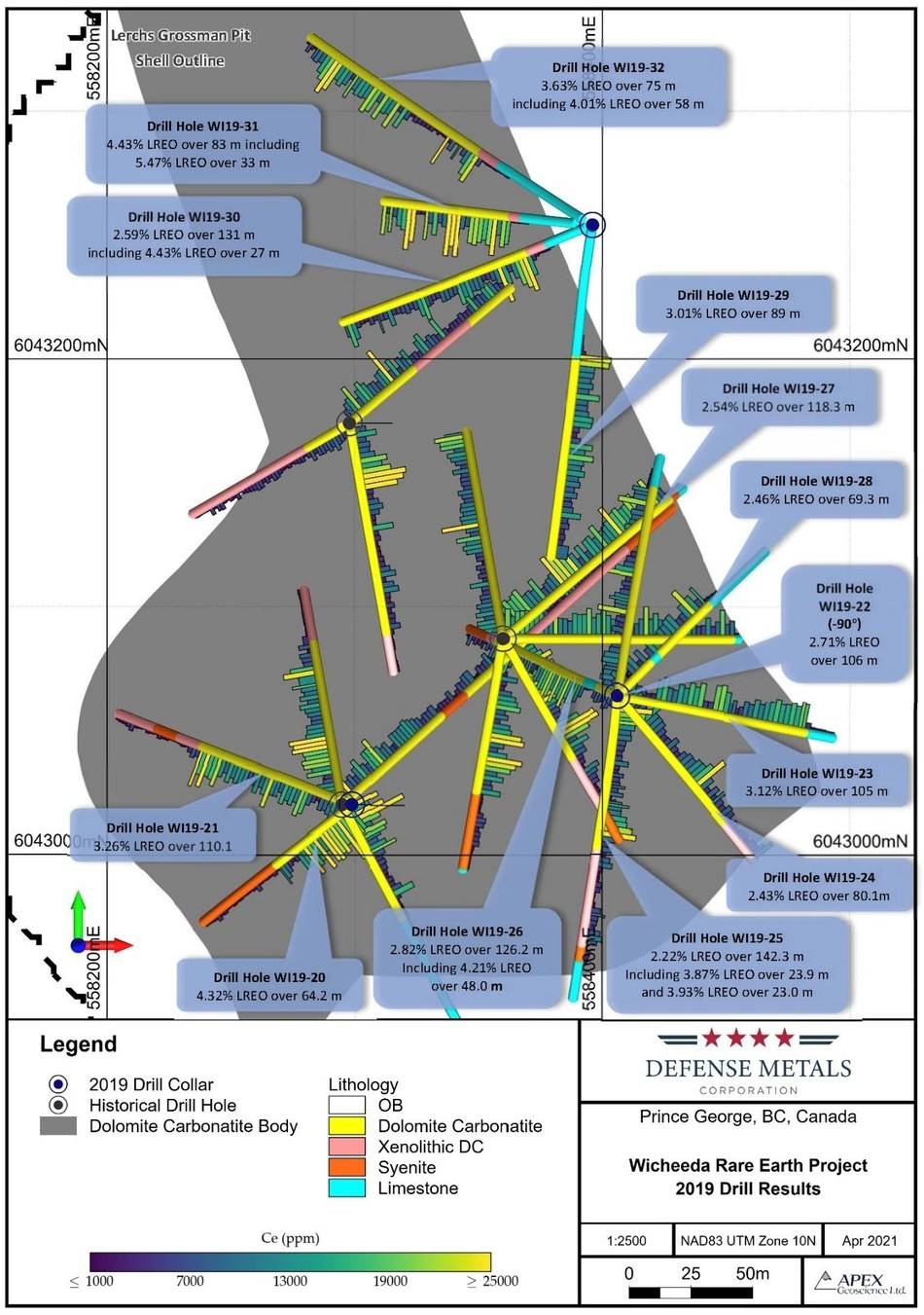 Figure 1. Wicheeda REE Deposit Drill Plan And 2019 Assay Results (CNW Group/Defense Metals Corp.)