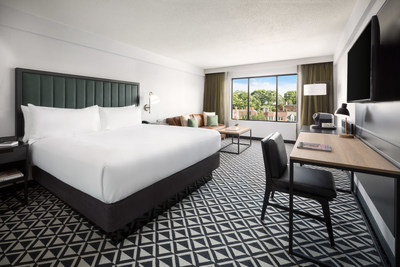 A newly renovated guestroom at The Arcadian Hotel Brookline