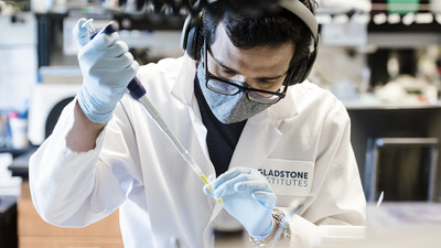 A new study by researchers at Gladstone Institutes and UC San Francisco provides a comprehensive portrait of the California variant of COVID-19. Shown here: Mir Khalid, graduate student working in Melanie Ott's lab at Gladstone. Photo: Michael Short/Gladstone Institutes