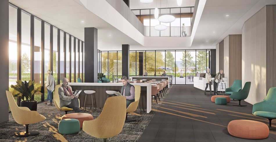 The lobby and dining area of the new Crystal Clinic Orthopaedic Center Hospital includes an outdoor lounge.