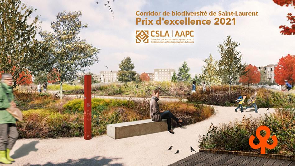 Vision du parc Philippe-Laheurte dans le corridor de biodiversité de Saint-Laurent qui remporte un prix d'excellence 2021 de l'Association des architectes paysagistes du Canada. (Groupe CNW/Ville de Montréal - Arrondissement de Saint-Laurent)