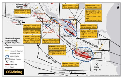 Figure 1 : Carte des forages du projet Marban (Groupe CNW/O3 Mining Inc.)