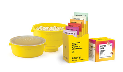 Opopop Flavor Wrapped™ Popcorn Kernels, the first innovation in popcorn since the 1970s. Comes in six signature flavors including reimagined classics such as Fancy Butter, and uniquely created experiences like Salted Umami and Vanilla Cake Pop