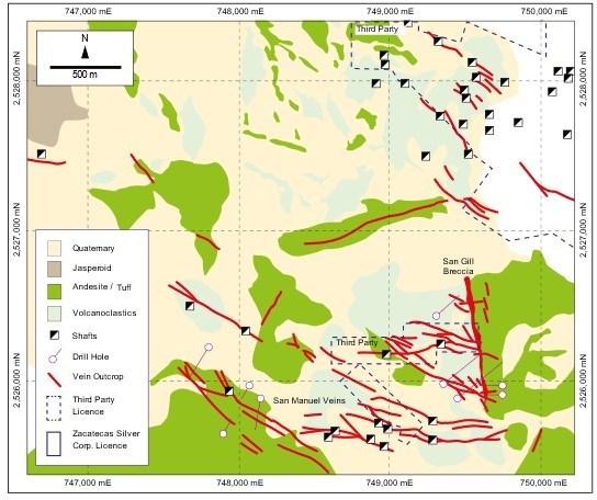 Figure 1 – San Gill-San Manuel Vein System (CNW Group/Zacatecas Silver Corp.)