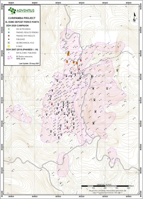 Figure 1: Drill Collar Location Map for Drill El Domo (CNW Group/Adventus Mining Corporation)