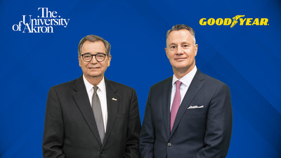 University of Akron's President Gary Miller (left) and Goodyear's Chairman, CEO and President Rich Kramer (right) announce new Driving Opportunity Scholars Program in Akron