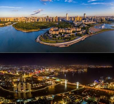 Uma vista aérea da cidade de Haikou no Porto de Livre Comércio de Hainan, na China. (Foto de Liu Yang/Hainan International Media Center) (PRNewsfoto/Hainan International Media Center (HIMC))