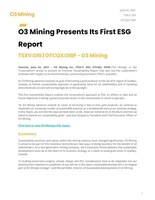 O3 Presents its First ESG Report (CNW Group/O3 Mining Inc.)