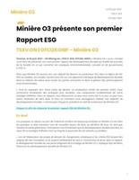 Minière O3 présente son premier Rapport ESG (Groupe CNW/O3 Mining Inc.)