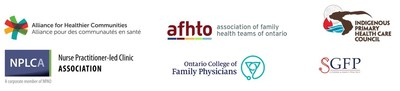 Logos of Primary Care Collaborative, clockwise from top left: Alliance for Healthier Communities; Association of Family Health Teams of Ontario (AFHTO); Indigenous Primary Health Care Council (IPHCC), OMA Section on General and Family Practice (SGFP); Ontario College of Family Physicians (OCFP); Nurse Practitioner-Led Clinic Association (NPLCA) (CNW Group/Primary Care Collaborative)