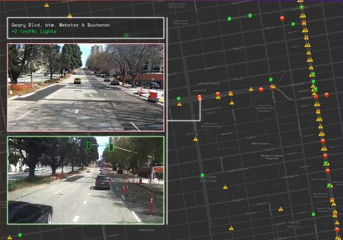 CARMERA captures the addition of traffic lights on Geary Blvd. on April 3, 2021, precisely locating the change and distinguishing it from other parts of the multi-block Geary improvement project.