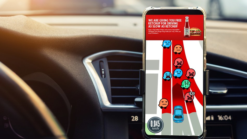 Heinz Ketchup partners with Waze and Burger King& to reward those in traffic, driving at the speed of its ketchup, 0.045 KM/H (CNW Group/Kraft Heinz Canada)