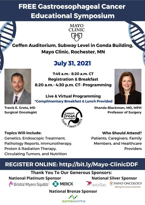 Flyer for the Mayo Clinic and DDF Gastroesophageal Cancer Educational Virtual Symposium led by Dr. Travis E. Grotz, Dr. Shanda Blackmon from Mayo Clinic will lead the event as Symposium Co-chairs.