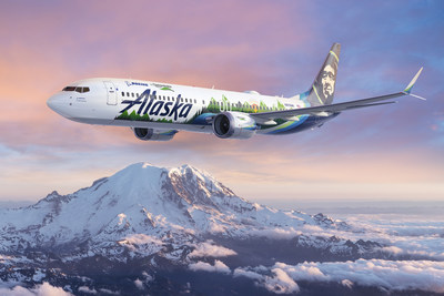 An Alaska Airlines 737-9 is serving as the flying test lab for Boeing's 2021 ecoDemonstrator program, which will evaluate about 20 technology projects. (Boeing rendering)