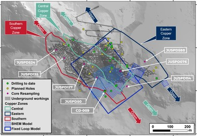 Figure 1: Location of resampled core and status of the current drill program (CNW Group/Meridian Mining S.E.)