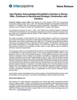 Inter Pipeline Acknowledges Brookfield's Intention to Revise Offer; Continues to Recommend Strategic Combination with Pembina (CNW Group/Inter Pipeline Ltd.)