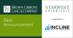 BGL Announces the Sale of Starwest Botanicals to Incline Equity...