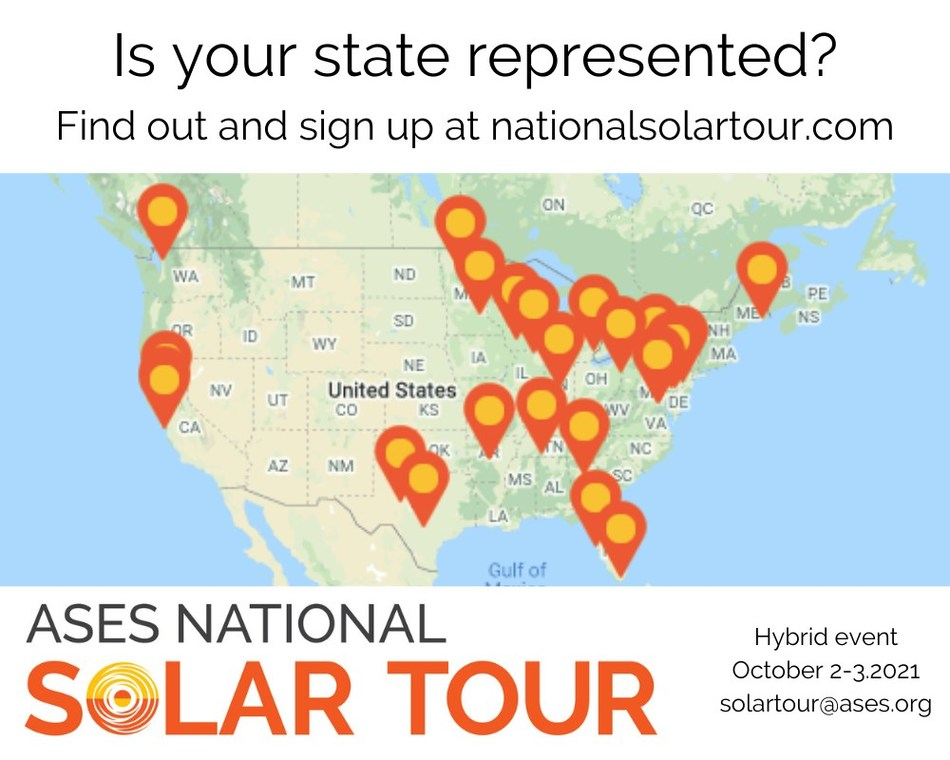 Sign up to host a Local Solar Tour or Solar Site on the National Solar Tour! The largest grassroots solar event will happen virtually and in neighborhoods near you, October 2-3, 2021, but you can host your Local Solar Tour or Solar Site anytime throughout the year. The deadline to sign up is August 15. Learn more at nationalsolartour.org.
