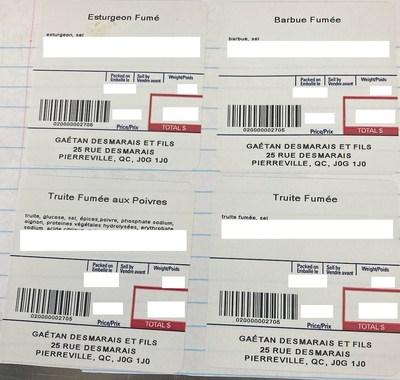 Étiquettes de poissons fumés (Groupe CNW/Ministère de l'Agriculture, des Pêcheries et de l'Alimentation)