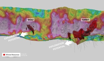 Figure 2: Surface High Potassium alteration signature (pink) showing down plunge potential from Torbrt and Wolf   - Oblique view looking east from Kitsault River,  4 kilometer wide window (CNW Group/Dolly Varden Silver Corp.)