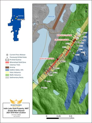 Figure 1 - Plan View of Grizzly Bear Drilling (CNW Group/Nighthawk Gold Corp.)