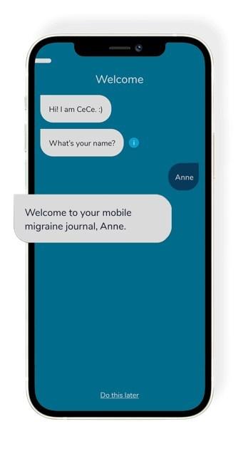 CeCe atua como um diário que ajuda os usuários a registrar ataques de enxaqueca, gatilhos e tratamentos em tempo real, fornecendo informações personalizadas, incluindo gatilhos e tempo.