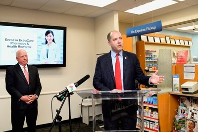 CVS Health Chief Policy Officer and General Counsel Tom Moriarty looks on as Georgia Attorney General Chris Carr helps announce the implementation of time delay safe technology in all 355 CVS Pharmacy locations throughout the state. The safes aim to help prevent pharmacy robberies and the potential for associated diversion of controlled substance medications—including opioid medications such as oxycodone and hydrocodone—by electronically delaying the time it takes for pharmacy employees to open the safe.