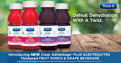 Clear Advantage® Plus Electrolytes Thickened Beverages are the latest in the Thick-It® line of xanthan-based, ready-to-drink beverages. Pre-thickened to an IDDSI Level 2 Mildly Thick (nectar) consistency, the single-serve, resealable bottles are convenient for use at home or on the go — no measuring or mixing required. They are available in refreshing grape and fruit punch flavors to bring new variety to the dysphagia diet.
