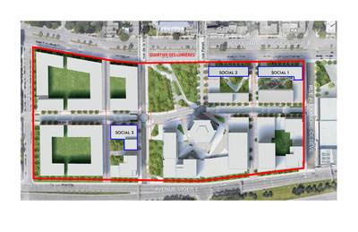 Plan d'implantation de l'ensemble du site. Les emplacements des lots sociaux sont identifiés en bleu. (Groupe CNW/Ville de Montréal - Arrondissement de Ville-Marie)
