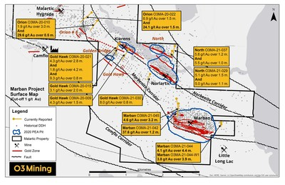 Figure 1: Marban Project Drilling Map (CNW Group/O3 Mining Inc.)