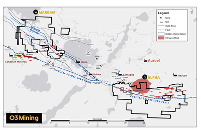 Figure 2 : Survol des propriétés Marban et Alpha (Groupe CNW/O3 Mining Inc.)