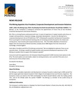 Filo Mining Appoints Vice President, Corporate Development and Investor Relations (CNW Group/Filo Mining Corp.)