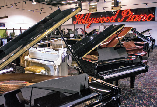 Hollywood Piano headquarters with the historic original neon sign.