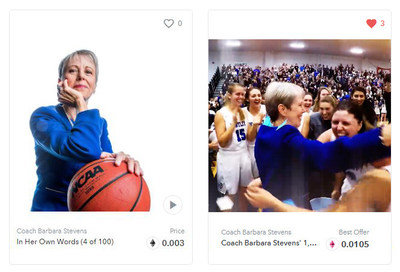 Bentley University created two NFTs commemorating special moments in Hall of Fame Basketball Coach Barbara Stevens' impressive coaching career.