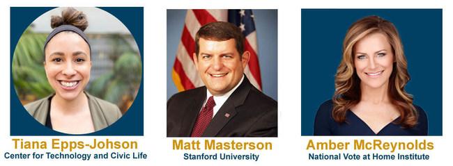 CVF's June 9th webinar features election expert panelists Tiana Epps-Johnson, Matt Masterson and Amber McReynolds - https://us02web.zoom.us/webinar/register/WN_Cuc0HhSCQ2qdSBYPm0Habw (PRNewsfoto/California Voter Foundation)
