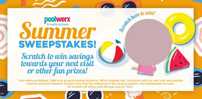 In-store scratch-offs with free water tests at Poolwerx retail locations.