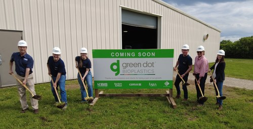 People who symbolically broke ground include Green Dot CEO Mark Remmert, Director of Research & Development Mike Parker, Engineering Manager Amanda Childress, Plant Manager Bill Barnell, and Dan Foltz, President of KBS Constructors. Lydia Kincade, co-founder of iiM, and Dave Nelson represented Green Dot's Board of Directors and investors, respectively.