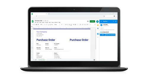 With SignEasy's new integration with Google Sheets, invoices can be transmitted for approval and signature, and purchase orders can become binding purchase contracts, with a single tap or click, and all without leaving Sheets.
