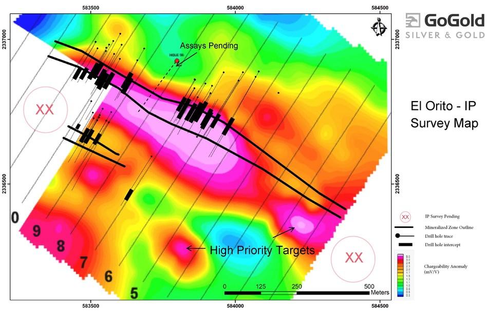 "Figure 2: El Orito – Induced Polarization (""IP"") Survey Map (CNW Group/GoGold Resources Inc.)"