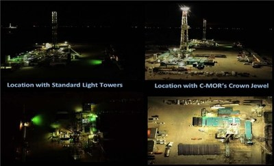 This picture illustrates an oilfield drilling location with standard light Towers compared with one using C-MOR's Crown Light™