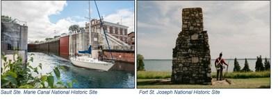 Photo gauche: LHN du Canal-de-Sault Ste. Marie Photo droite:  LHN du Fort-St. Joseph (Groupe CNW/Parcs Canada)