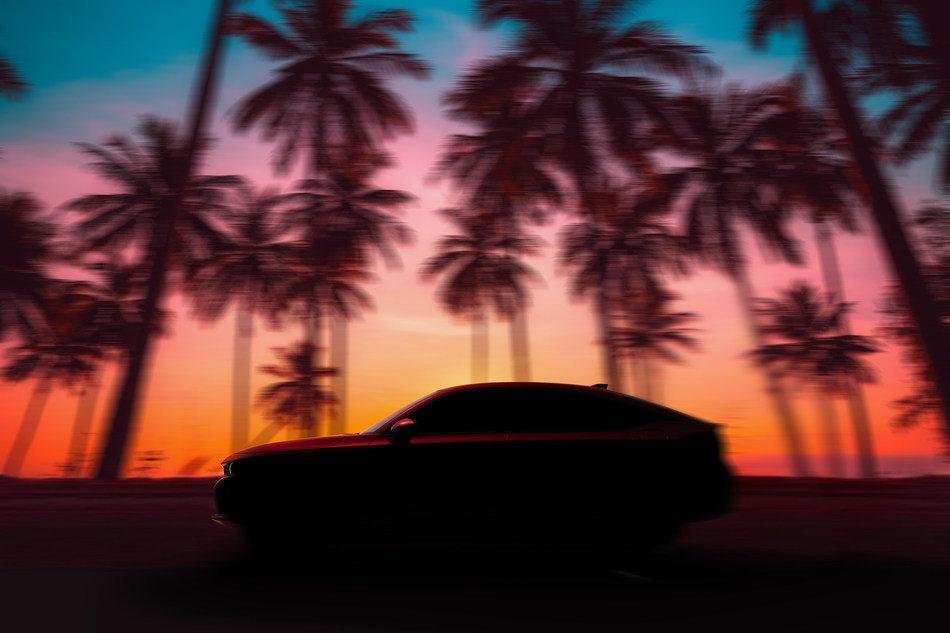 """Honda offered a first glimpse of the all-new 2022 Civic Hatchback today ahead of its global reveal on June 23 at 6 p.m. PDT during the Civic Tour """"Remix"""" virtual concert on YouTube. Arriving at Honda dealerships later this year, the Civic Hatchback builds on the sporty and youthful design of the 11th generation Civic Sedan while showcasing European-inspired exterior styling, enhanced five-door versatility, and an available, fun-to-drive 6-speed manual transmission."""