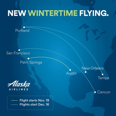 Alaska Airlines announces new routes to sunny destinations for wintertime flying.