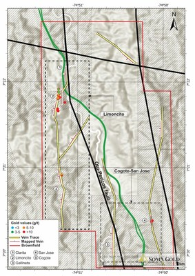 Map #5. Plan view of Limoncito and Cogote-San Jose targets in the central part of Zara concessions. (CNW Group/Soma Gold Corp.)